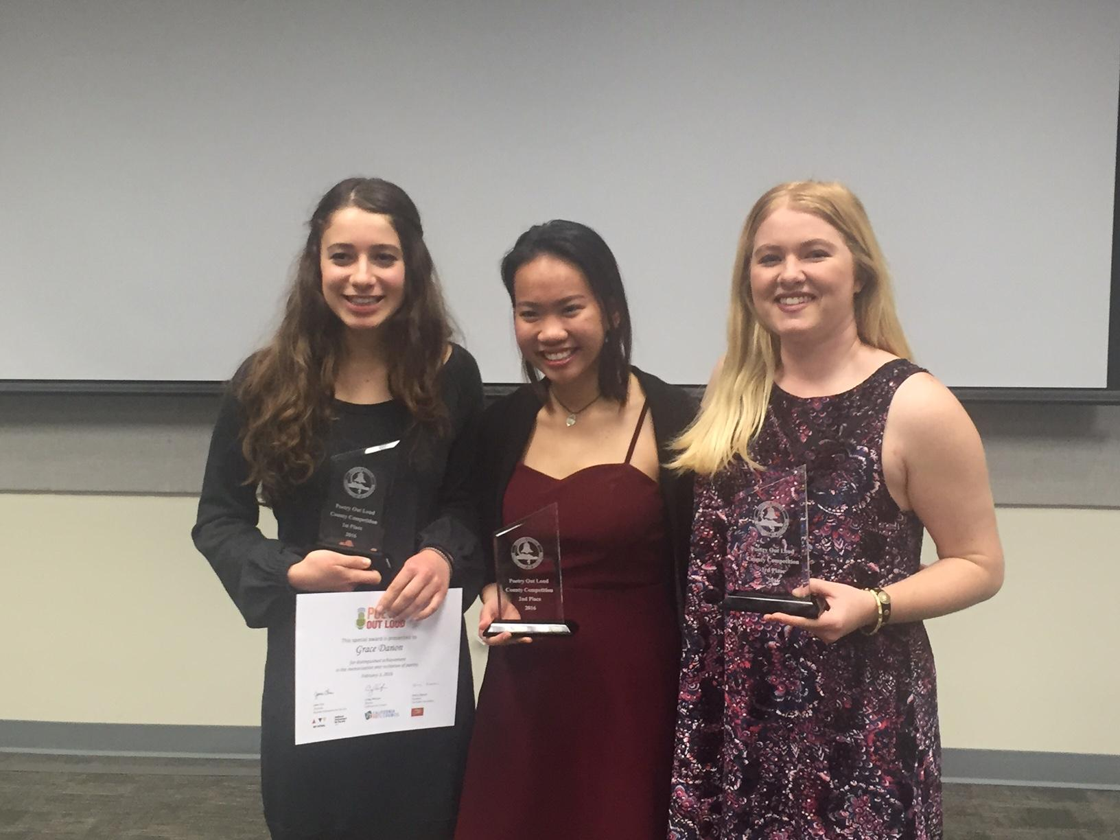 (From left to right.) Grace Danon (first place), Jane Huynh (second place), and Kat Delaney (third place).