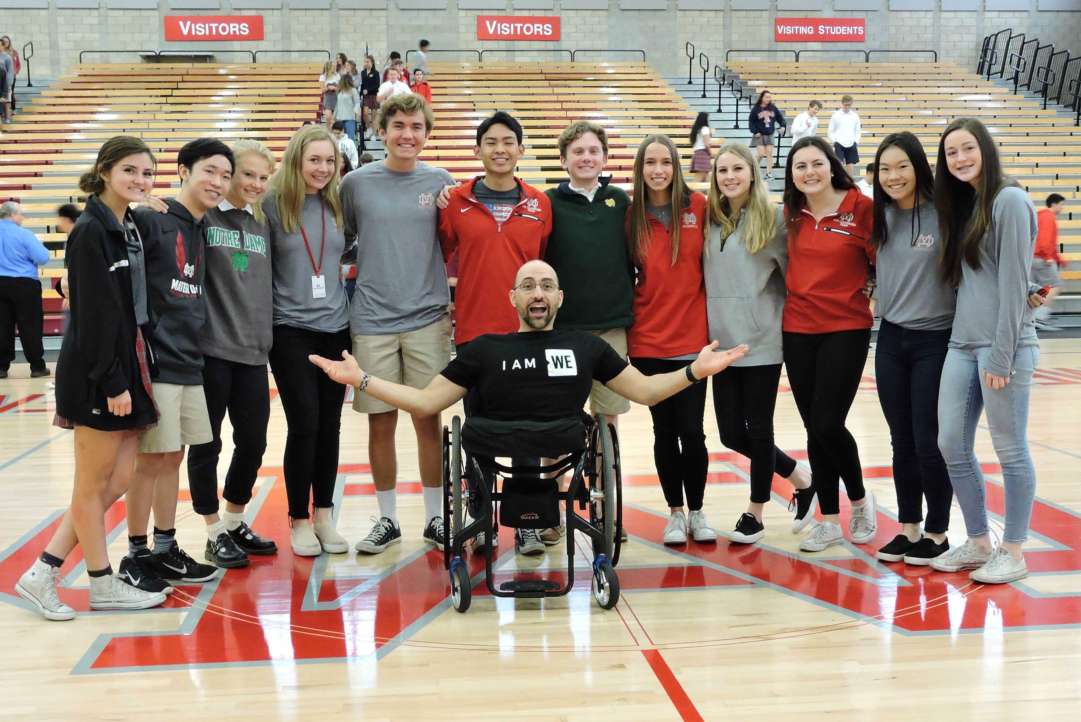 Spencer West meets with Mater Dei ASB leaders after his speech.