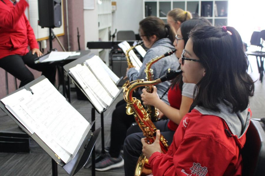 PRACTICE MAKES PERFECT: Saxophone players within the Jazz Band practice in preparation for the annual Red Hot Jazz event on April 13.