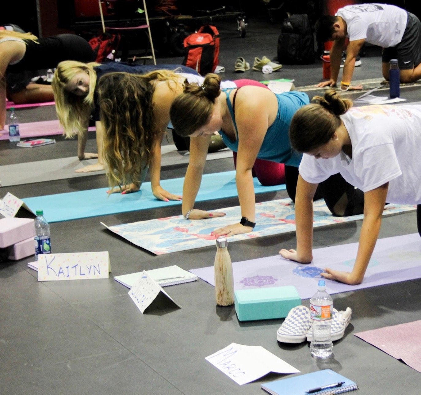 WORK+OUT%3A+Juniors+Kaitlyn+Holl+and+Julia+Noya+work+on+yoga+poses+in+Hamilton+class+on+Aug.+29.+Students+use+yoga+mats+to+complete+the+exercise+and+have+blocks+to+use+as+well.+%E2%80%9CFrom+the+class%2C+I+am+hoping+to+discover+new+poses+to+help+strengthen+my+muscles+and+to+gain+more+flexibility%2C%E2%80%9D+junior+Kaitlyn+Holl+said.