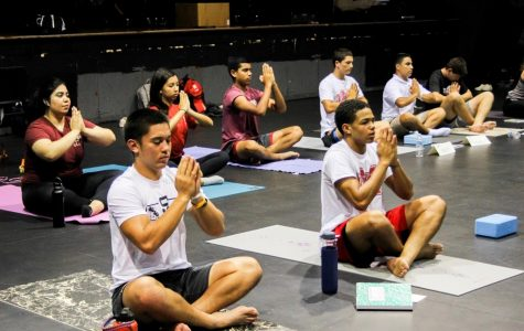 "NAMASTE: Sophomore Joshua Hunter and junior Josiah Zamora practice traditional yoga poses in class. The class emphasizes mental wellness and inner peace. ""...every time we finish practicing yoga, we end with eight minutes of dead silence, no movement, to reconnect with your breath and relax and take in everything,"