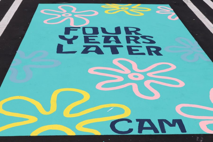 FLYING THROUGH THE YEARS: Senior Cameron Doan chose to design her parking spot similar to the transitions used in the Nickelodeon show Spongebob Squarepants.
