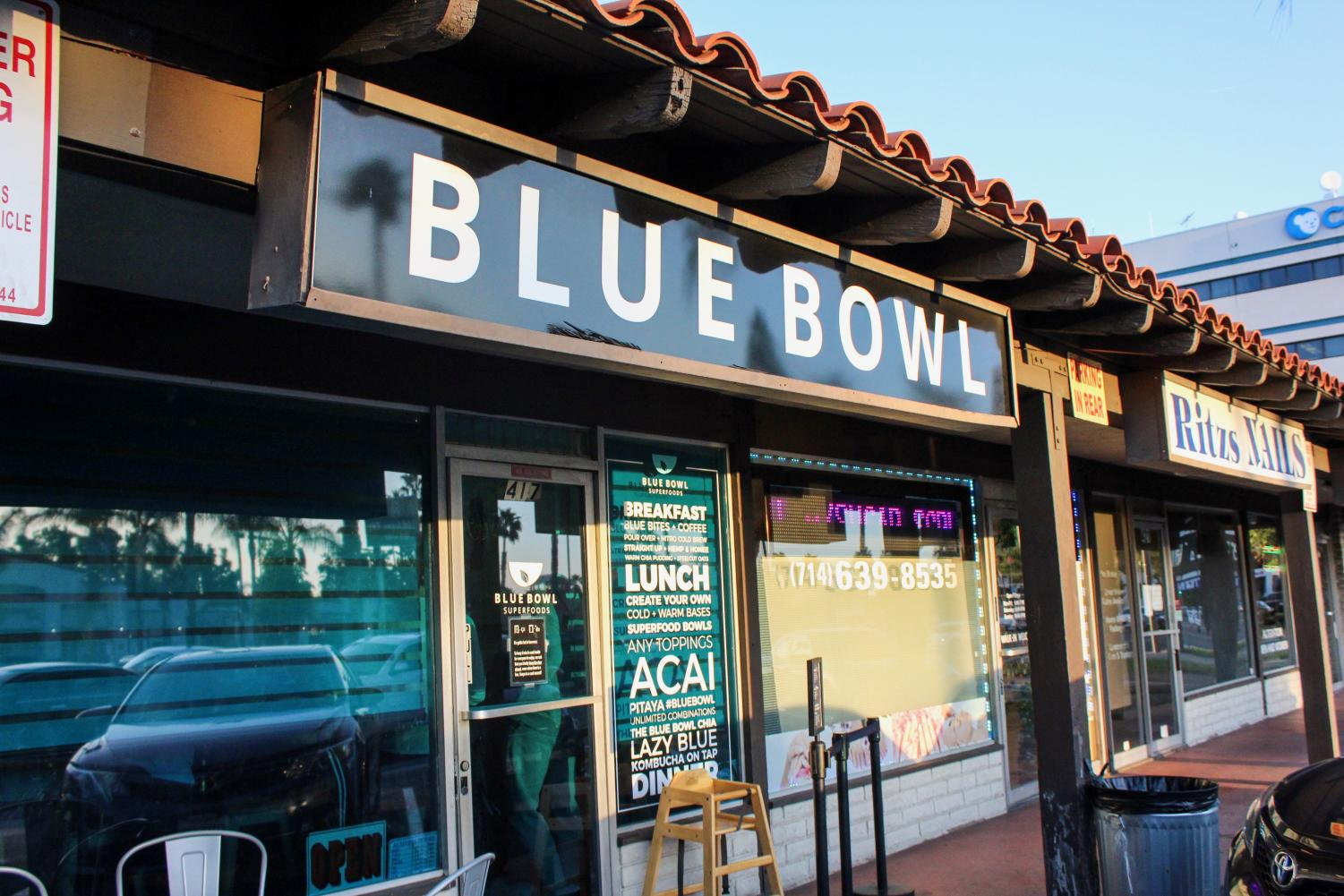 """BLUE HEAVEN: Serving up delicious açaí bowls, Blue Bowl is located across Orange County. Blue Bowl was voted as one of the top five trendy food places. """"Blue Bowl is similar to Banzai Bowls, but their add ons are way healthier and have much more variety to choose from,"""" senior Ashley Cruz said. """"I like to get the bowl with an açaí base, granola, strawberries, banana, blueberries, chia seeds, almond butter, organic agave, and raw coconut flakes."""""""