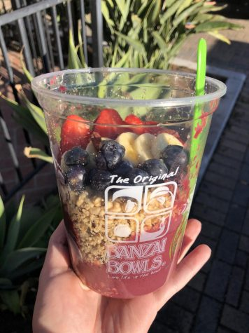 BERRY GOOD BOWL: One of Banzai Bowls' most popular menu items is the Sharks Cove acai bowl with an apple juice base, decked out with honey, granola, bananas, strawberries, blueberries, and goji berries.