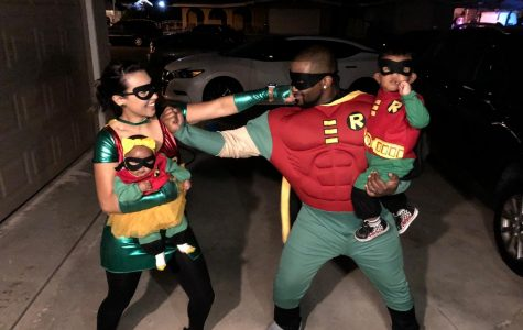 POWERFUL BUNCH: The McIntyre family ready to conquer Halloween.