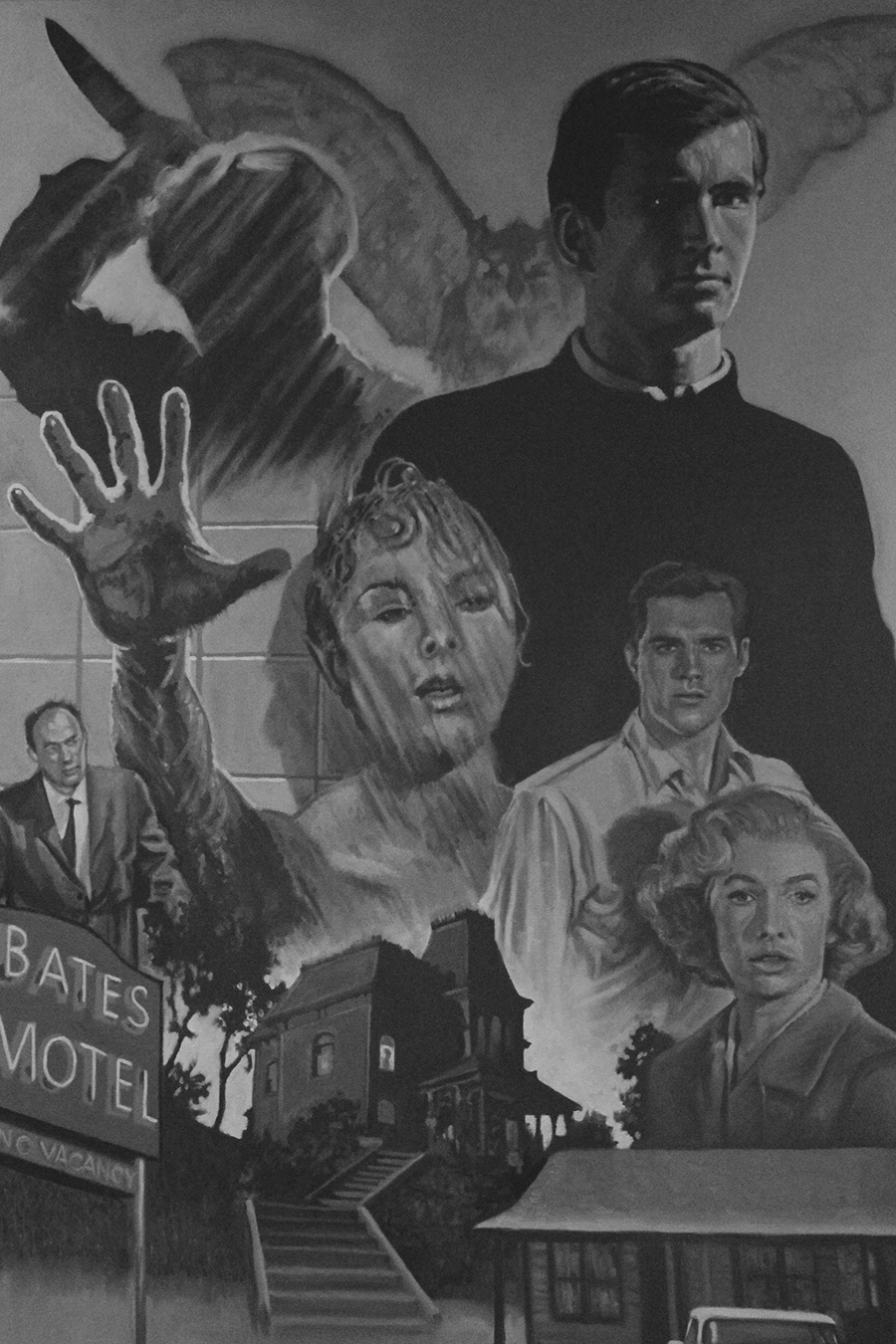 Inside+the+movie+theatre+are+many+different+works+of+art+dedicated+to+films%2C+actors+and+directors.+In+this+painting%2C+homage+is+paid+to+the+classic+horror+film+Psycho.