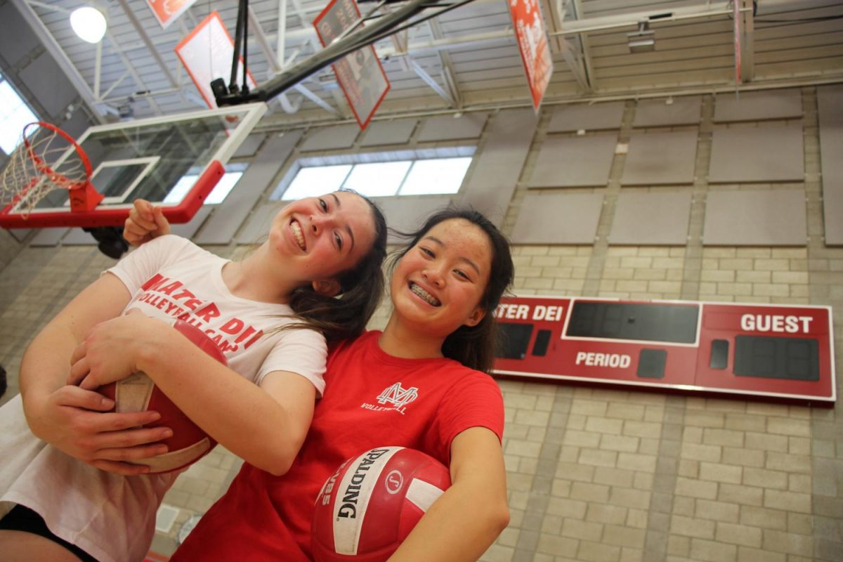 In order to be a team, you must get to know and eventually trust your team members. While practicing, staying positive is key because it is uplifting to not only you, but your team members as well. Nothing but smiles from Freshman Kaitlyn Staats and Ashley Nguyen during practice.