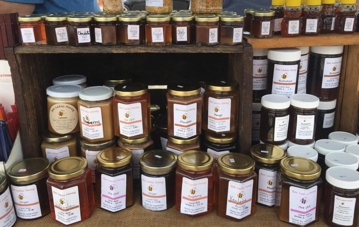 A variety of different flavored honey is sold by the jar full at the Newport Beach Farmers' Market. These flavors of honey include chocolate, avocado and raspberry, among others. Each flavor comes in various jar sizes and can all be sampled for tasting.