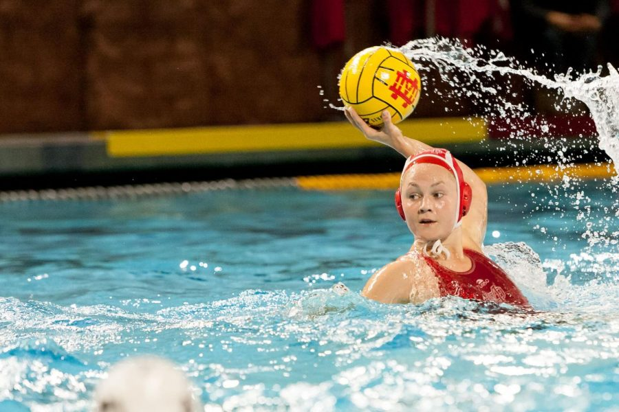Senior Grace Thawley as played water polo throughout her four years at Mater Dei. Thawley is able to play any position that her team needs, using er left hand as opposed to her right.
