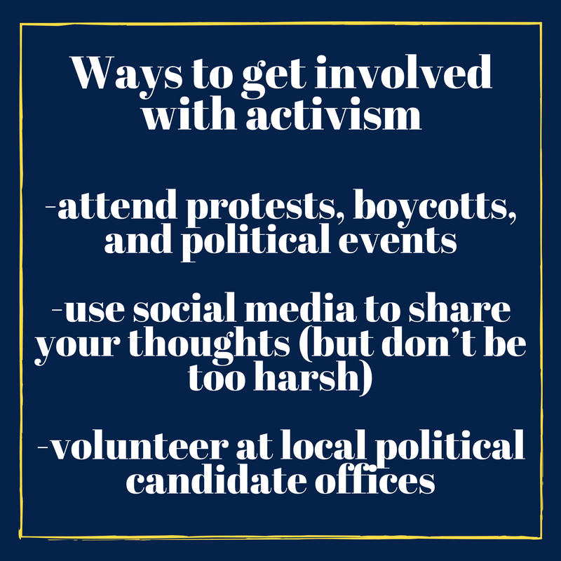 Infographic on ways to get involved with activism