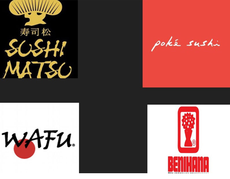 All restaurants mentioned logos are present in image above. Wafu Of Japan,  Poke Sushi of orange, Sushi Matsu and Benihana.