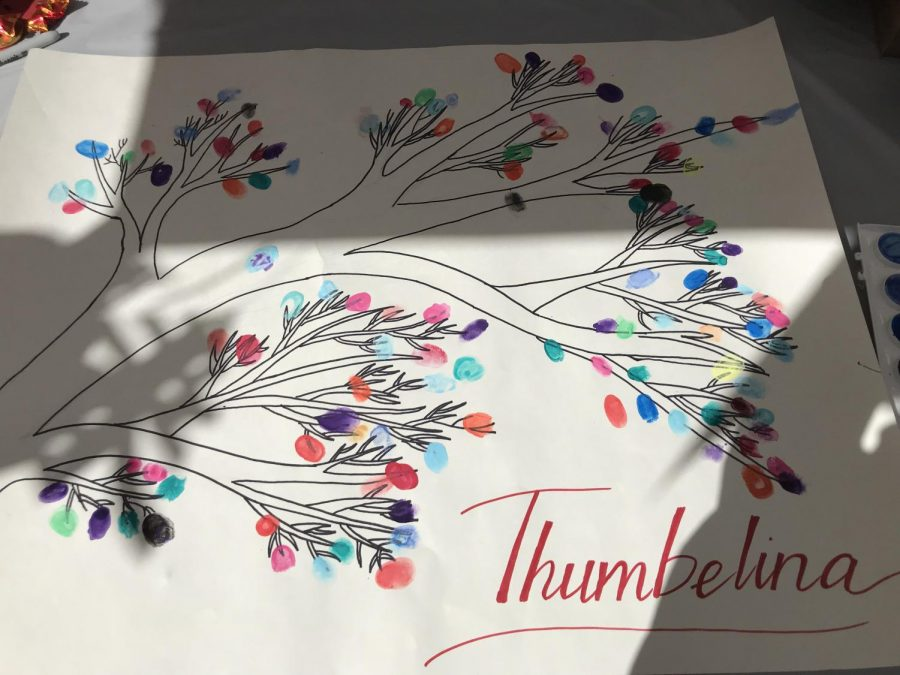 A student club hosted an activity during which students could stamp their thumbprints to created a tree. The tree is a symbol prosperity and unity, both values celebrated during Lunar New Year, in the Monarch family.