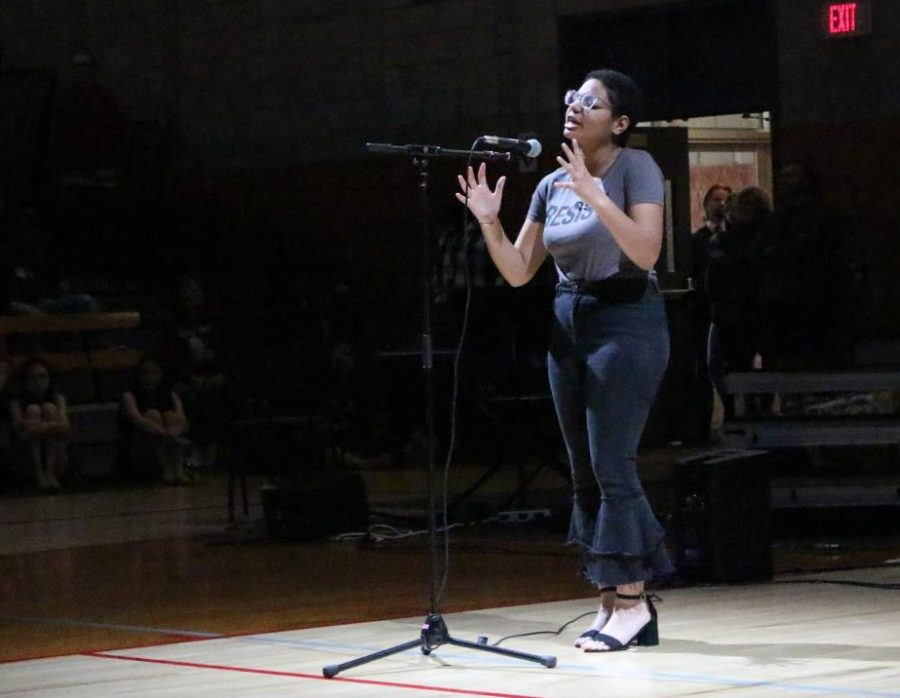 """Senior Alexis Rangell-Onwuegbuzia recites """"If They Should Come For Us"""" by Fatimah Asghar."""