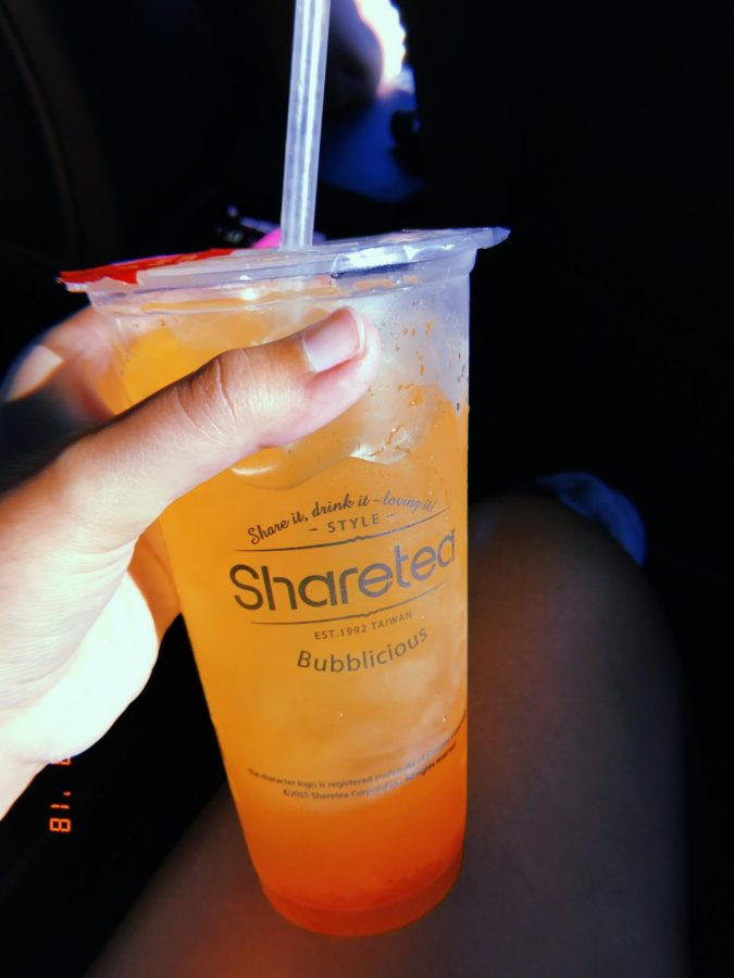 NEW THINGS: The Hawaii Fruit Tea is a recommended item on Shareteas Drinks List. The sweet flavor of the tea mixed with the sour flavor of the popping pearls makes the perfect combination for this drink. Its just a perfect drink to get with your friends since it is super refreshing and not too see to the point of needing water, sophomore Ashley Nguyen said.