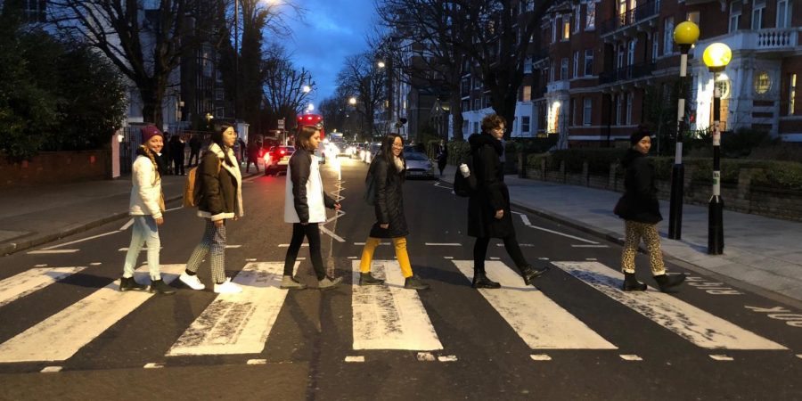 ABBEY ROAD: Recreating the famous Beatles cover art, the Academic Decathlon team makes their first stop in England. Junior Gianna El Bayar enjoys listening to the Beatles and other '60s classics.