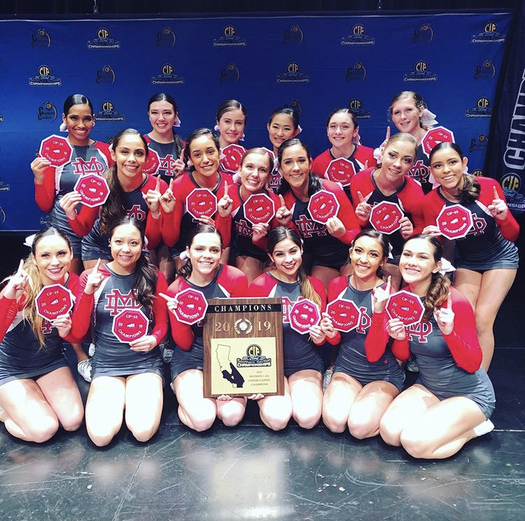 WE%27RE+NUMBER+1%3A+The+varsity+team+poses+with+their+CIF+plaque.+%22The+team+hopes+to+make+history+and+be+the+first+cheer+team+to+ever+be+CIF+champions%2C%22+Audrey+Gubernick+said.
