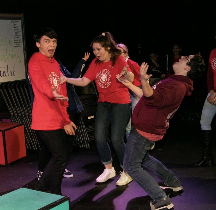 Carson Alanes, Fiona Mulholland and a few others improvise during the first Chuckles 4 Charity show. This year most of the proceeds will go to a scholarship. According to new theatre director, Lissa Slay,