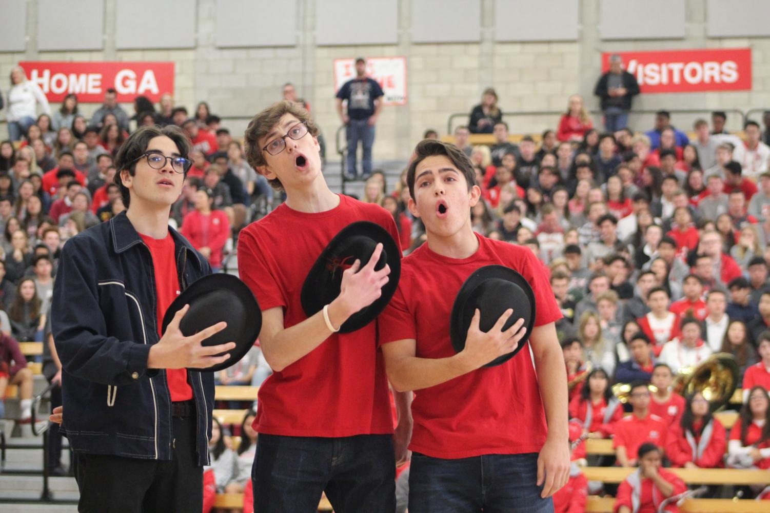 SINGING+TROUPE%3A+Seniors+Anthony+Barajas%2C+Nick+Van+Dalsem%2C+and+Jaden+Marquez+perform+their+song+for+the+Senior+Musical%2C+%22Guys+and+Dolls%2C%22+at+the+Spring+Sports+Rally.