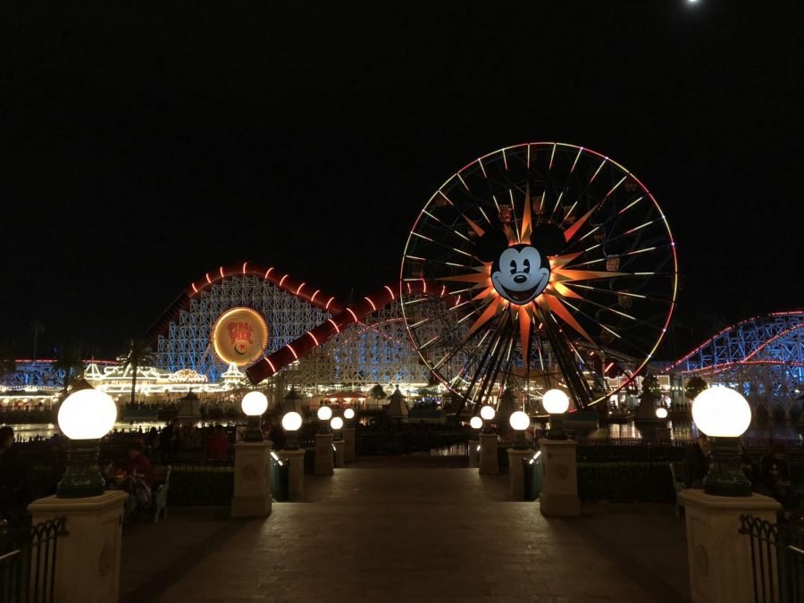LIGHT UP THE NIGHT: Nighttime view of the Pixar Pal-A-Round and the Incredicoaster. The lights along the Pixar Pier shine bright before the start of the after hours event, World of Color, which is held in California Adventure.