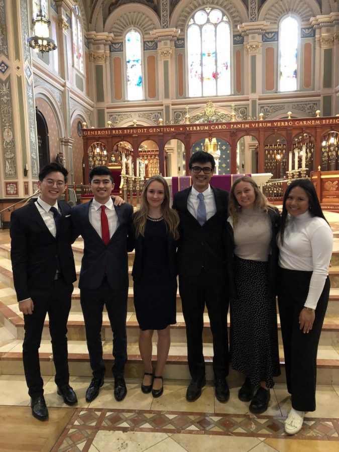 Junior Dabius Kim, along with seniors Rodrigo Gonzalez, Melita Kalczynska, Jude Zabala and Melanie Montegani, visit the Cathedral of the Blessed Sacrament during their trip to Catholic Youth Advocacy Day.