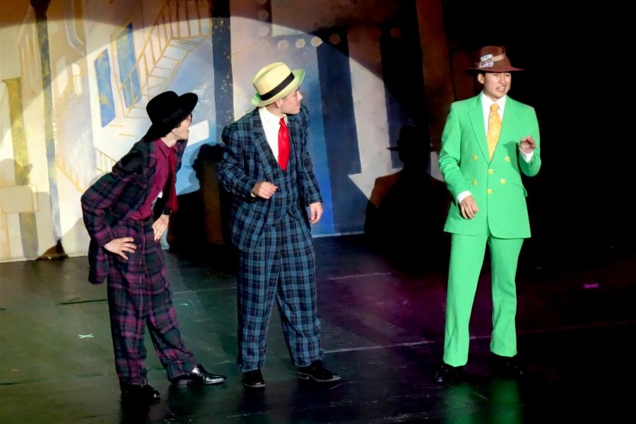 Seniors Jaden Marquez (Benny), Anthony Barajas (Nicely Nicely Johnson), and Rodrigo Gonzalez (Rusty) perform the number,