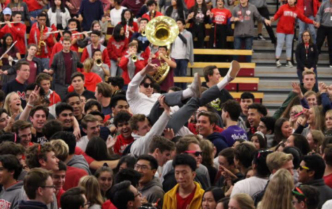 LAST HURRAH: While the class of 2019 is doing there final Alma Mater, Senior Nathaniel Almendral decided to make this last one count. He proceeded to jump into the crowd and get lifted by his classmates and friends. The saddened seniors soon became much more cheery and smiles spread across the crowds face.