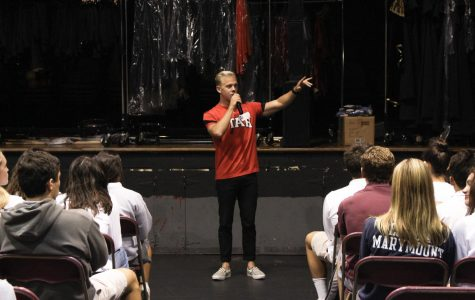 INSPIRING OTHERS: Former collegiate athlete, Nolan Rogers motivates students by talking about is own experiences as an athlete.