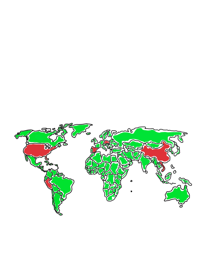 CHRISTMAS AROUND THE GLOBE: The countries highlighted in red correspond with the countries featured in this piece.