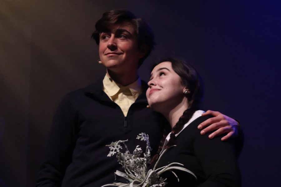 LISTEN+FOR+WEDDING+BELLS%0AJuniors+Owen+Logan+and+Maureen+Beld+perform+on+stage+at+Phillips+Hall+in+preparation+for+the+upcoming+shows.+%E2%80%9CIt+was+awesome+acting+as+Lucas+in+Addams+Family.+It+was+one+of+the+first+times+I+was+given+free+reign+and+really+allowed+to+do+what+I+choose+with+the+character.+Overall+great+experience+with+even+better+people%2C%E2%80%9D+said+Owen.