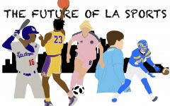 (Left to right) Senior Stanley Nicholson, juniors Gabriel Quiette and Annie Karich, senior Kade Ganey, and sophomore Kassius Ashtiani depicted in the uniform of the professional sports teams that have inspired them as athletes (Los Angeles Dodgers, Los Angeles Lakers, Angel City Fútbol Club, Los Angeles Galaxy, and Los Angeles Rams).