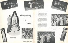 """Mater Dei Homecoming 1953 THE FIRST OF MANY: The Homecoming of 1953 was the first homecoming in Mater Dei history. The '50s was a defining decade for fashion where many new looks, styles, and silhouettes rose to relevance. The rise of the """"New Look"""" by Christian Dior in the late 1940s, which was considered big and bold for the era, opened the gates for new ideas and shaped fashion history. The """"New Look"""" had full dress skirts and a padded bust to accentuate the waist. Popular dress silhouettes of the time were the swing dress, which was tea length [3 to 4 inches above the ankle], and full-skirted, and the pencil dress which was form-fitting. Popular cocktail and evening dress silhouettes were commonly made from silk, taffeta, lace, or velvet. The necklines were high and round in a V shape and had minimal trim."""